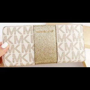 Michael Kors Jet Set Wallet Stripe Vanilla Gold